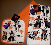 New 3 PC SET: Spooky Halloween Dogs Cats 2 Kitchen Dish Towels and Pot Holder