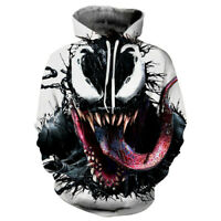 Venom Hoodie 3D Print Sweatshirt Hooded Pullover Coat Men Casual Jacket Sweater