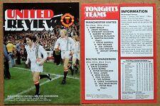 Programma CALCIO > Man Utd V Bolton Wanderers Jan 1980 PP PLUS aggiornamento feb 1980