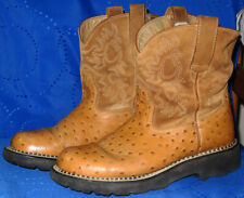 Ariat Fatbaby Cowboy Boots Women 9 B Brown Ostrich Leather Western Roper 14728