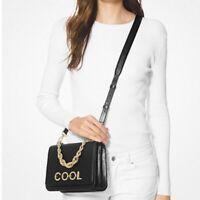 New ✨🎁Michael Kors MOTT Cross Body Bag Black Leather Shoulder Handbag Chain