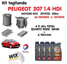 KIT TAGLIANDO OLIO TOTAL QUARTZ 5W40 LT 4 + 4 FILTRI WIX PEUGEOT 207 1.4 HDI
