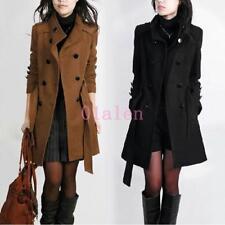 Women's Hooded Jacket Wool Blend Mid Long Thick Parka Coat Jackest Autumn Winter
