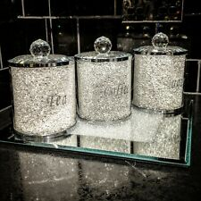 New Tea Coffee Sugar Canister Set Storage Jar with Swarovski Crystals Elements