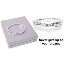 GIFT BOXED Equilibrium Silver Plate Hidden Message Hinged Bangle Dream Bracelet