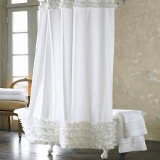 Shabby Chic White Ruffle Shower Curtain 180x200cm +12 Hooks