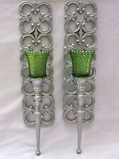 Vtg Pair Homco,Syroco Silver Scroll Design Glass Votive Wall Candle Holders