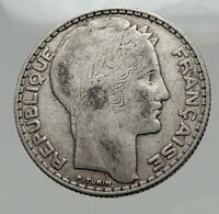 1933 FRANCE Authentic Large Silver 10 Francs French Coin LIBERTY & WHEAT i62983