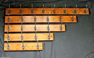 Victorian Coat Rack Hand Made From Reclaimed Pine With Vintage Coat Hooks