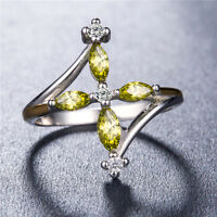 Pretty 925 Silver Jewelry Peridot & White Sapphire Women Wedding Ring Size 6-10