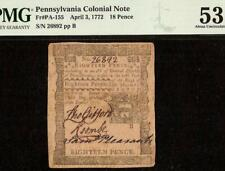 1772 PENNSYLVANIA COLONIAL CURRENCY NATURE PRINT NOTE PAPER MONEY PA-155 PMG 53