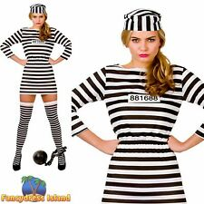 Jailbird Cutie Lady Gaga Convict Prisoner Womens Fancy Dress Costume Hen Night