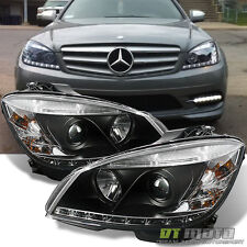 Blk 2008-2011 Mercedes Benz W204 C-Class LED DRL Projector Headlights Left+Right