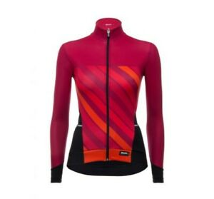 Women's Coral 2.0 Winter Long Sleeve Cycling Jersey in Orange/Red by Santini