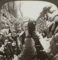 WW1 Stereoview. The Belgian Trenches at Nieuport in the Icy grip of Winter