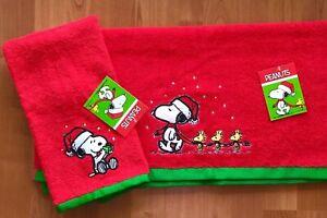 "2-Set Peanuts Snoopy Woodstock Christmas Hand 16""x 26"" & Bath 24""x 48""Towels"