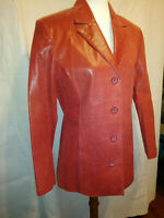 Red Leather Blazer Womens Size Large Adler two slit pockets, four buttons, lined