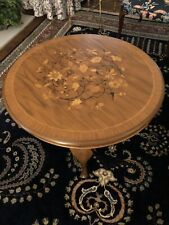 "Vintage German Inlay Marquetry Table 35.25"" Diameter"