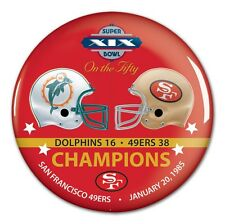 SAN FRANCISCO 49ERS MIAMI DOLPHINS SUPER BOWL CHAMP XIX ON THE FIFTY BUTTON