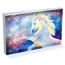 """Awesome Magical White Horse Photo Block 6 x 4"""" - Desk Art Office Gift #14220"""