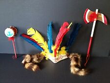 VTG Headdress with feathers raccoon tails and accessories