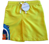 NEW BOYS SWIM SHORTS YELLOW SHARK MARKS & SPENCER FADE RESISTANT AGE 5-6 YEARS