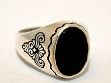 Turkish Ottoman Vintage Onyx Stone Solid 925 Sterling Silver Men Ring Gemstone
