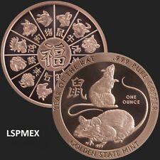 2020 Chinese Lunar Year Of The Rat 1 oz Copper USA Proof-Like Bullion BU Round