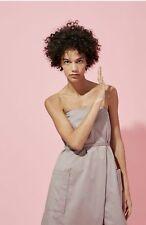 Tibi Strapless GRAY wrap-effect cotton-poplin playsuit $525 size8 mint