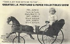 1994 Postcard Los Angeles Paper and Collectibles Show GIRL IN HORSE CARRIAGE