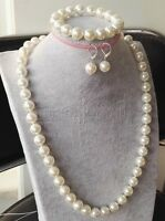 8MM Natural White Akoya Cultured Shell Pearl Necklace Bracelet Earrings Set AAA