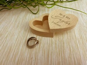 Mr and Mrs Wedding Ring Carrier Heart Box Personalised Engagement Gift