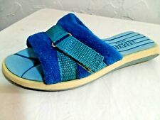 """RACHEL- Youth Girls PREMIUM Size""""13"""" White/Blue Mule Quality Sandals Dpecial"""