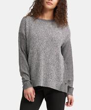 DKNY Womens Step-Hem Sweater (Black/White, Large)
