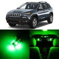 14 x Ultra GREEN Interior LED Lights Package For 2014- 2018 Jeep Cherokee  +TOOL