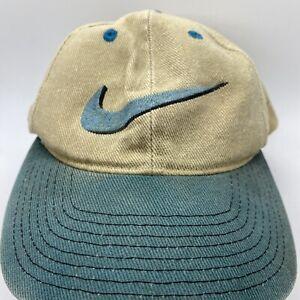 Vintage Nike Logo Snapback Adjustable Hat (Corduroy, Green/Brown, 56323)