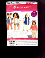 "Simplicity: Pattern #8818 AMERICAN GIRL DOLL CLOTHES - 18"" DOLLS New - 4 Outfits"