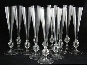 "12x art deco crystal Flute, Champagne Glass, design Gerard Muller, Holland, 10"""