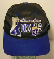 Vintage 1990s KANSAS CITY ROYALS SPELL OUT LOGO BLACK MLB BASEBALL SNAPBACK HAT