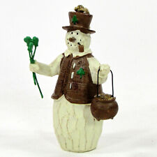 "Flurryville Collection SHAMROCK SHAWN 4"" Snowman Ornament Irish Pipe Pot Gold"