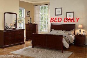 Modern Cherry Eastern King Size Bed Curved Frame Bedroom Furniture