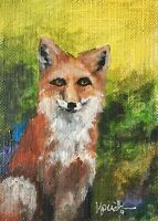 "Original ACEO ATC Painting Art Trading Card ""Cunning"" Fox Forest Animals Nature"