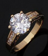 Round Cut Size 9 Womens White Topaz 18K Gold Filled Wedding Engagement Ring Gift