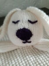 ~Cute Hand Knitted Bunny - Rabbit Baby comforter - blanket in Cream~