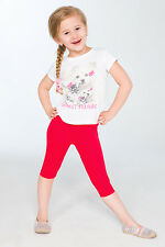 Cropped Children 3/4 Cotton Leggings Basic Plain Kids Capri Pants Age 2 - 13