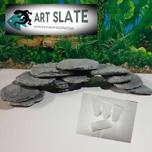 Art Slate 12pcs Fish Tank Aquarium Vivarium Natural Stone & glue set Cave Hide