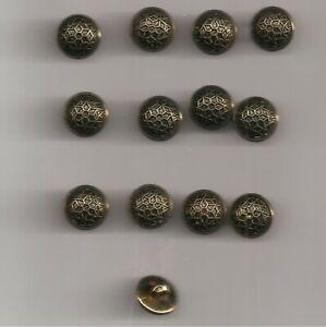 MERCERIE lot de 12 BOUTONS  VIEIL  OR ANCIENS HAUTE COUTURE DIAMETRE 10 mm