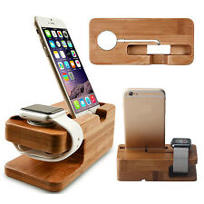 Wood Bamboo Charging Dock Station Charger Stand Holder For Apple Watch & iPhone