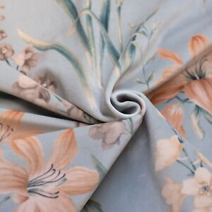Luxury premium quality velour upholstery floral pattern fabric soft silky touch