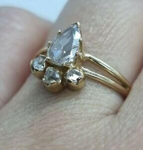 Vintage Estate Edwardian 1.2 CT DIAMOND ROSE CUT GOLD 18K ring